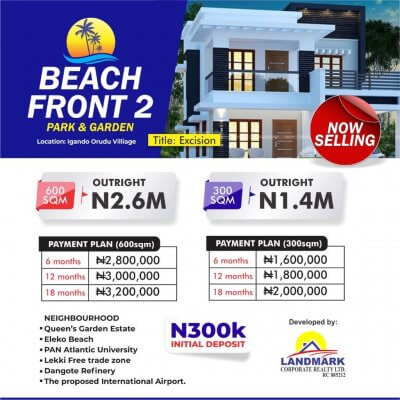 Beachfront Estate Ph2, Eleko Ibeju Lekki
